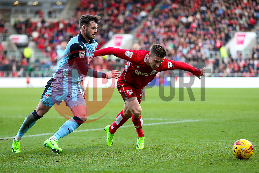 Joe Bryan of Bristol City is challenged by Anthony Forde of Rotherham United - Rogan Thomson/JMP - 04/02/2017 - FOOTBALL - Ashton Gate Stadium - Bristol, England - Bristol City v Rotherham United - Sky Bet Championship.