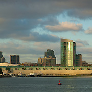 Convention center of San Diego skyline view from Coronado.