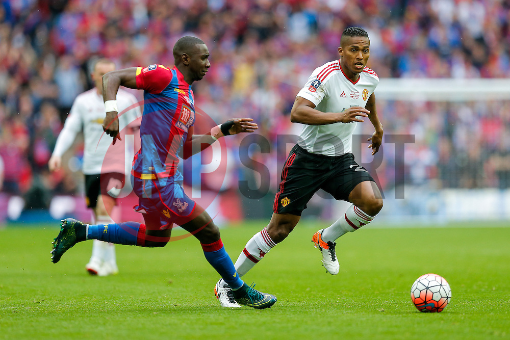 Luis Antonio Valencia of Manchester United is challenged by Yannick Bolasie of Crystal Palace - Mandatory byline: Rogan Thomson/JMP - 21/05/2016 - FOOTBALL - Wembley Stadium - London, England - Crystal Palace v Manchester United - FA Cup Final.