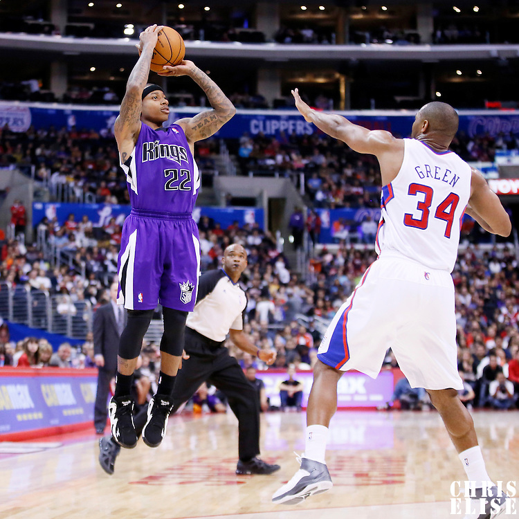 25 October 2013: Sacramento Kings point guard Isaiah Thomas (22) takes a jumpshot during the Sacramento Kings 110-100 victory over the Los Angeles Clippers at the Staples Center, Los Angeles, California, USA.