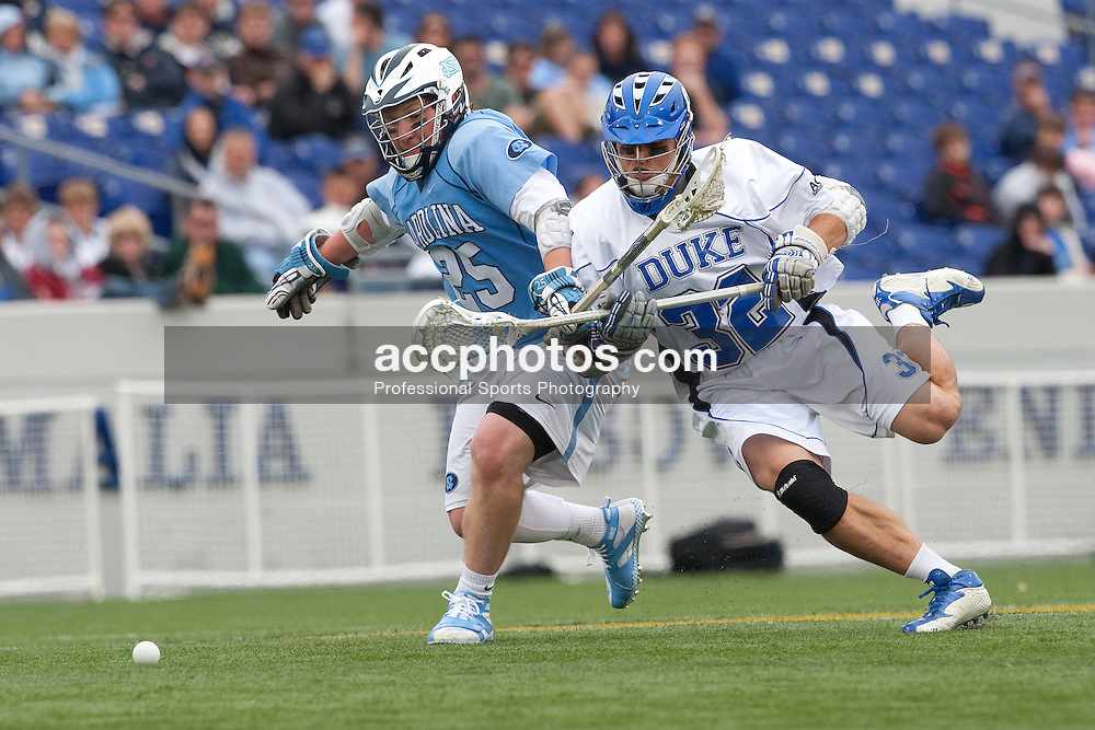 17 May 2009: North Carolina Tar Heels midfielder Shane Walterhoefer (25) and Duke midfielder Sam Payton (32) during a 12-11 loss to the Duke Blue Devils in the NCAA quarterfinals at the Navy-Marine Corps Stadium in Annapolis, MD.