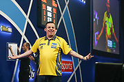 Dave Chisnall celebrates winning a set during the World Darts Championships 2018 at Alexandra Palace, London, United Kingdom on 29 December 2018.