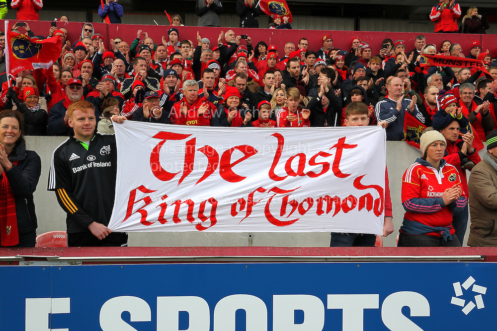 Munster fans display a banner for Anthony Foley. European Rugby Champions cup match, pool one, Munster Rugby v Glasgow Warriors at Thomond Park in Limerick , Ireland on Saturday 22nd October 2016.<br /> pic by  John Halas, Andrew Orchard sports photography.