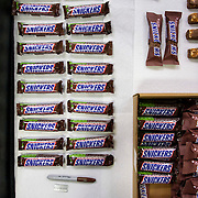 January 10, 2016 - New York, NY : Mars Incorporated enlisted the advertising agency BBDO -- as well as some notable Hollywood actors -- to create a 2016 Superbowl advertisement for their iconic Snickers candy bar at 19th Street Studios in Astoria, Queens, New York City on Sunday, Jan. 10. Snickers bars in contemporary, left, and vintage, right, wrappers are readied backstage for shooting. **NOTE: at the time of shooting this picture, the creative team had not decided which wrappers to use in the shoot.** CREDIT: Karsten Moran for The New York Times