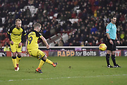Burton Albion midfielder Jacob Davenport (19) scores a goal to make the score 2-0 during the EFL Sky Bet Championship match between Barnsley and Burton Albion at Oakwell, Barnsley, England on 20 February 2018. Picture by Richard Holmes.