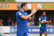 AFC Wimbledon midfielder Dylan Connolly (16) clapping during the EFL Sky Bet League 1 match between AFC Wimbledon and Rotherham United at the Cherry Red Records Stadium, Kingston, England on 3 August 2019.