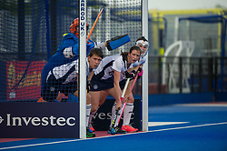 East Grinstead prepare to defend a penalty corner. East Grinstead v Holcombe - Semi-Final - Investec Women's Hockey League Finals, Lee Valley Hockey & Tennis Centre, London, UK on 22 April 2017. Photo: Simon Parker
