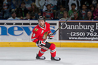 KELOWNA, CANADA - APRIL 25: Chase De Leo #9 of the Portland Winterhawks skates against the Kelowna Rockets on April 25, 2014 during Game 5 of the third round of WHL Playoffs at Prospera Place in Kelowna, British Columbia, Canada. The Portland Winterhawks won 7 - 3 and took the Western Conference Championship for the fourth year in a row earning them a place in the WHL final.  (Photo by Marissa Baecker/Getty Images)  *** Local Caption *** Chase De Leo;