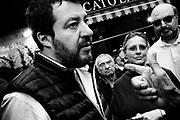 Matteo Salvini visita il mercato rionale di Appio Latino in occasione della raccolta firme per sfiduciare il sindaco Raggi. Roma 22 ottobre 2019. Christian Mantuano / OneShot