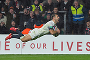 Twickenham, Surrey. UK. Danny CARE, dive's in for a late try during the <br /> England VS Australia, Autumn International. Old Mutual Wealth Series. RFU Stadium, Twickenham. UK<br /> <br /> Saturday  18.11.17<br /> <br /> [Mandatory Credit Peter SPURRIER/Intersport Images]