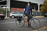 Brooklyn, N.Y. November 11, 2013.  Jose cycles 30 minutes from her apartment in Carroll Gardens, Brooklyn, to the bicycle repair shop where she works on the Lower East Side in Manhattan each day. 11/11/2013. Photo by Erin Brodwin/NYCity Photo Wire