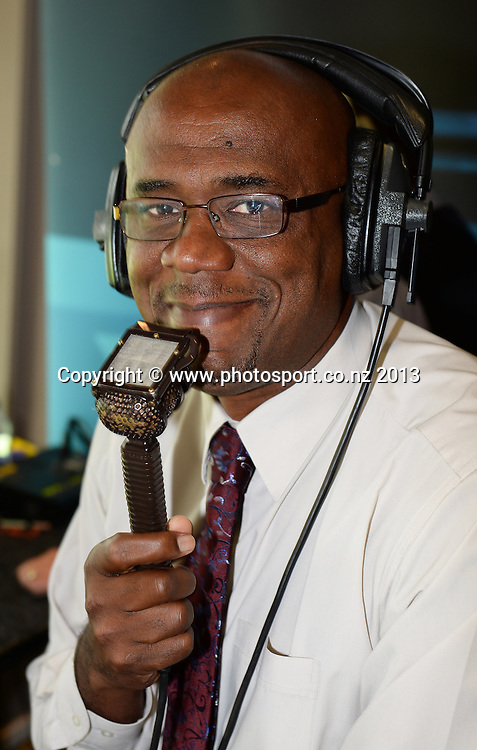Former West Indian cricketer and commentator Ian Bishop on Day 3 of the 2nd cricket test match of the ANZ Test Series. New Zealand Black Caps v West Indies at The Basin Reserve in Wellington. Friday 13 December 2013. Mandatory Photo Credit: Andrew Cornaga www.Photosport.co.nz