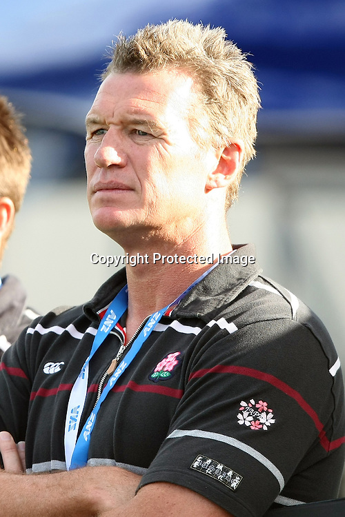 John Kirwan, coach of Japans rugby team watches his team compete in the match between Japan and Fiji at the Pacific Nations Cup, 3 July 2009. Photo: Bruce Southwick/PHOTOSPORT
