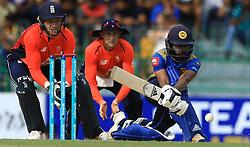 October 23, 2018 - Colombo, Sri Lanka - Sri Lankan cricketer Niroshan Dickwella plays a shot during the 5th One Day International cricket match between Sri Lanka and England at the R Premadasa International Cricket Stadium, Colombo,  Sri Lanka. Tuesday 23 October 2018  (Credit Image: © Tharaka Basnayaka/NurPhoto via ZUMA Press)