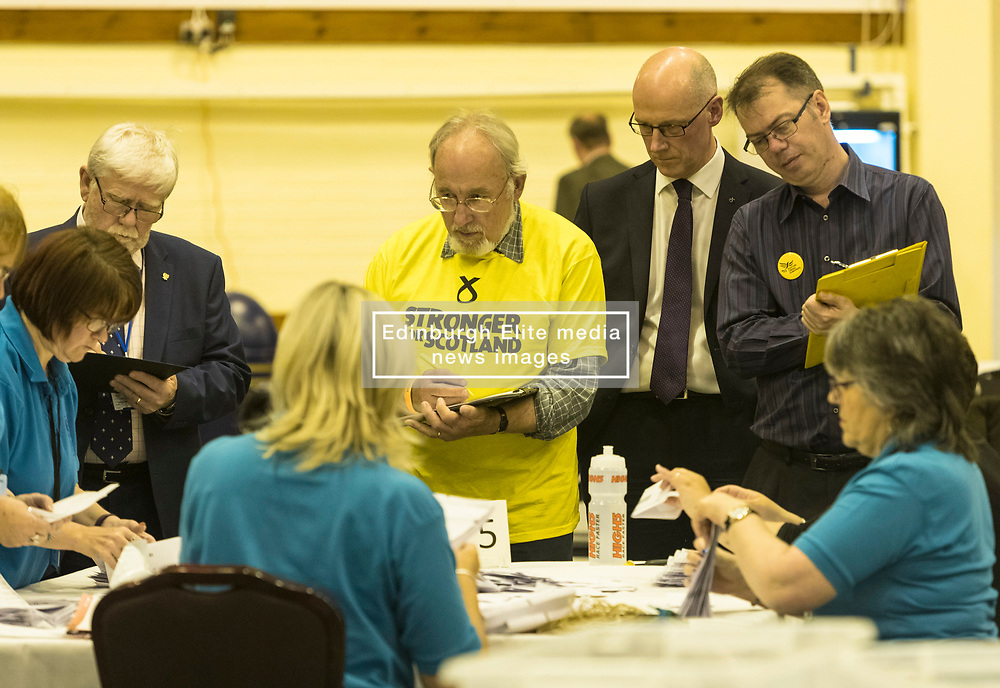 The count for the UK Parliamentary General Election 2017 for the Perth & North Perthshire Constituency takes place at Bell's Sports Centre in Perth.<br /> <br /> The four candidates standing for the seat are Peter Barrett (Scottish Liberal Democrats), Ian Duncan (Scottish Conservatives), David Roemmele (Scottish Labour) and Pete Wishart (SNP)<br /> <br /> Pictured: John Swinney MSP looks on as votes start to be counted in the Perth and North Perthshire Constituency