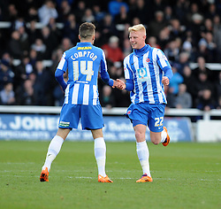 Hartlepool United's Darren Holden and Hartlepool United's Jack Compton celebrate going 2 - 0 up against Bristol Rovers - Photo mandatory by-line: Dougie Allward/JMP - Mobile: 07966 386802 15/03/2014 - SPORT - FOOTBALL - Hartlepool - Victoria Park - Hartlepool United v Bristol Rovers - Sky Bet League Two