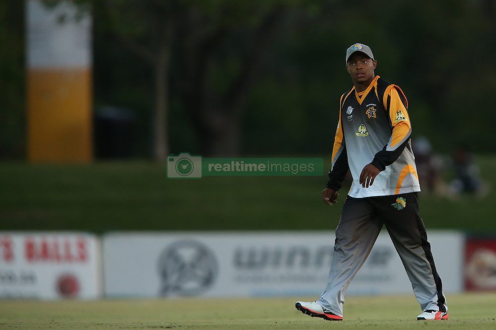 Simon Khomari of Boland during the Africa T20 cup pool D match between Boland and Eastern Province held at the Boland Park cricket ground in Paarl on the 24th September 2016.<br /> <br /> Photo by: Shaun Roy/ RealTime Images