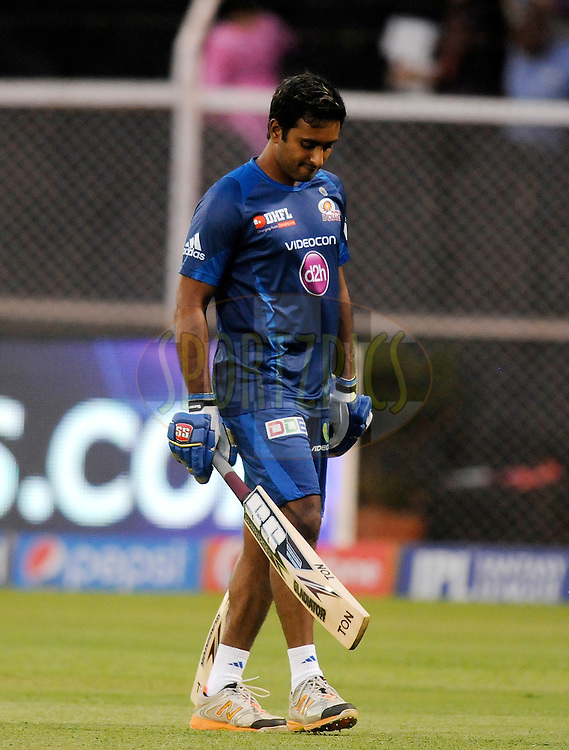Ambati Rayudu of the Mumbai Indians during a warm up session before the start of the eliminator match of the Pepsi Indian Premier League Season 2014 between the Chennai Superkings and the Mumbai Indians held at the Brabourne Stadium, Mumbai, India on the 28th May  2014<br /> <br /> Photo by Pal PIllai / IPL / SPORTZPICS<br /> <br /> <br /> <br /> Image use subject to terms and conditions which can be found here:  http://sportzpics.photoshelter.com/gallery/Pepsi-IPL-Image-terms-and-conditions/G00004VW1IVJ.gB0/C0000TScjhBM6ikg