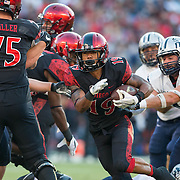 03 September 2016: The San Diego State Aztecs football team open's up the season at home against the University of New Hampshire Wildcats.  San Diego State running back Donnel Pumphrey (19) breaks free for a 20 yard run. The Aztecs lead 21-0 at halftime. www.sdsuaztecphotos.com