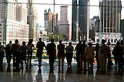 People looking at the site of the former World Trade Center