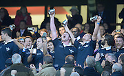 Twickenham. UK.   Oxford,  celebrate after winning the 2013 Varsity Rugby Match,  Final score Oxford, defeating Cambridge,  33 - 15 on    Thursday  12/12/2013, at the RFU Stadium.  Surrey, England  [Mandatory Credit. Peter Spurrier/Intersport Images]