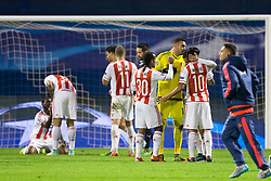 Players of Olympiakos celebrate after football match between GNK Dinamo Zagreb and Olympiakos in Group F of Group Stage of UEFA Champions League 2015/16, on October 20, 2015 in Stadium Maksimir, Zagreb, Croatia. Photo by Urban Urbanc / Sportida