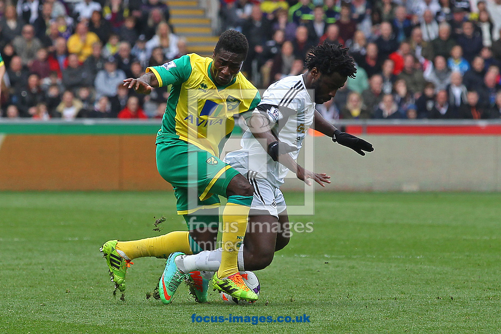 Alexander Tettey of Norwich and Wilfried Bony of Swansea in action during the Barclays Premier League match at the Liberty Stadium, Swansea<br /> Picture by Paul Chesterton/Focus Images Ltd +44 7904 640267<br /> 29/03/2014