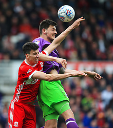 Milan Djuric of Bristol City challenges Daniel Ayala of Middlesbrough - Mandatory by-line: Matt McNulty/JMP - 14/04/2018 - FOOTBALL - Riverside Stadium - Middlesbrough, England - Middlesbrough v Bristol City - Sky Bet Championship