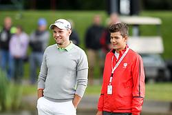 23.06.2015, Golfclub M&uuml;nchen Eichenried, Muenchen, GER, BMW International Golf Open, Show Event, im Bild links Maximilian Kieffer (GER) mit einem Nachwuchs Golfer // during the Show Event of BMW International Golf Open at the Golfclub M&uuml;nchen Eichenried in Muenchen, Germany on 2015/06/23. EXPA Pictures &copy; 2015, PhotoCredit: EXPA/ Eibner-Pressefoto/ Kolbert<br /> <br /> *****ATTENTION - OUT of GER*****