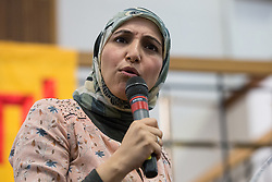 London, UK. 2nd March, 2019. Salma Yaqoob, human rights activist, addresses the ¡No Pasaran! Confronting the Rise of the Far-Right conference at Bloomsbury Central.