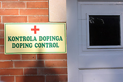 Doping control sign at Bezigrad stadion for football made by Joze Plecnik in year 1935, before rebuilded in 2008. (Photo by Vid Ponikvar / Sportal Images)..