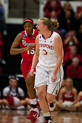 March 21, 2011; Stanford, CA, USA; Stanford Cardinal forward Mikaela Ruef (3) celebrates after shooting a three point basket against the St. John's Red Storm during the first half of the second round of the 2011 NCAA women's basketball tournament at Maples Pavilion.