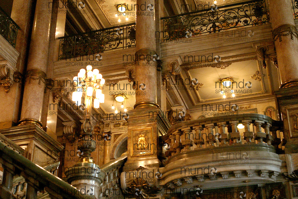 The main reception hall in the Art Nouveau era Theatro Municipal (Municipal Theatre) of Rio de Janeiro, The Theatro is a direct copy of the Paris Opera House and is located in the Centro area of Rio de Janeiro at Cinelandia.