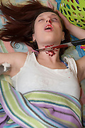 Household Violence - Mock up of a slaughtered wife as a concept of household violence - Model Release Available