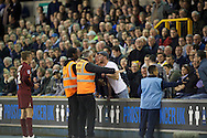 Two Millwall fans shout at Stephen Darby of Bradford City during the Sky Bet League 1 Playoff Semi-final Leg Two at The Den, London<br /> Picture by Alan Stanford/Focus Images Ltd +44 7915 056117<br /> 20/05/2016