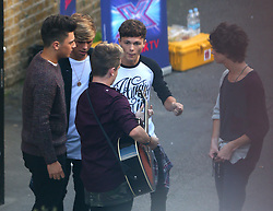 X Factor finalists boyband Overload at a studio in London, UK. 26/09/2014 <br />