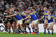 Leeds Rhinos player Matt Parcell (9) plays the ball from the srum during the Betfred Super League match between Hull FC and Leeds Rhinos at Kingston Communications Stadium, Hull, United Kingdom on 19 April 2018. Picture by Mick Atkins.