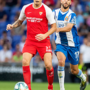 BARCELONA, SPAIN - August 18:  Lucas Ocampos #5 of Sevilla defended by Didac Vila #17 of Espanyol during the Espanyol V  Sevilla FC, La Liga regular season match at RCDE Stadium on August 18th 2019 in Barcelona, Spain. (Photo by Tim Clayton/Corbis via Getty Images)