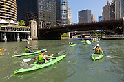 Kayakers on the Chicago River during summer in Chicago, Illinois, USA
