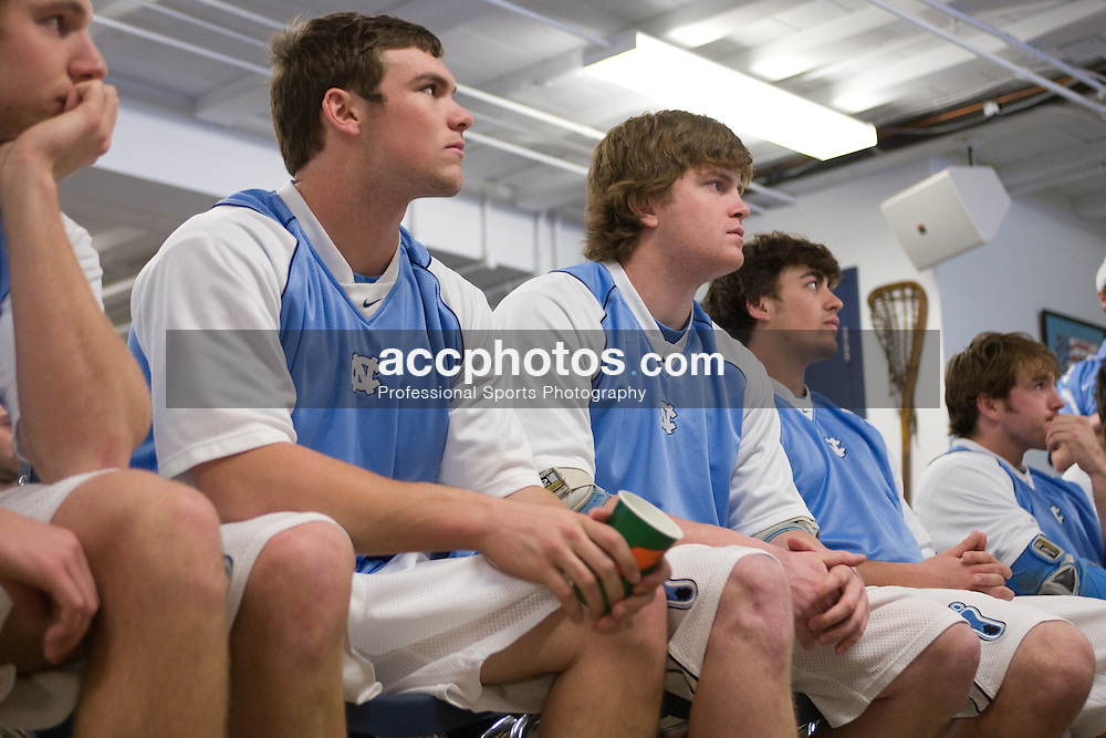 22 March 2008: North Carolina Tar Heels defenseman midfielder Michael J. Burns (26) and defenseman Tim Kaiser (22) in the locker room before playing the Maryland Terrapins at Fetzer Field in Chapel Hill, NC.