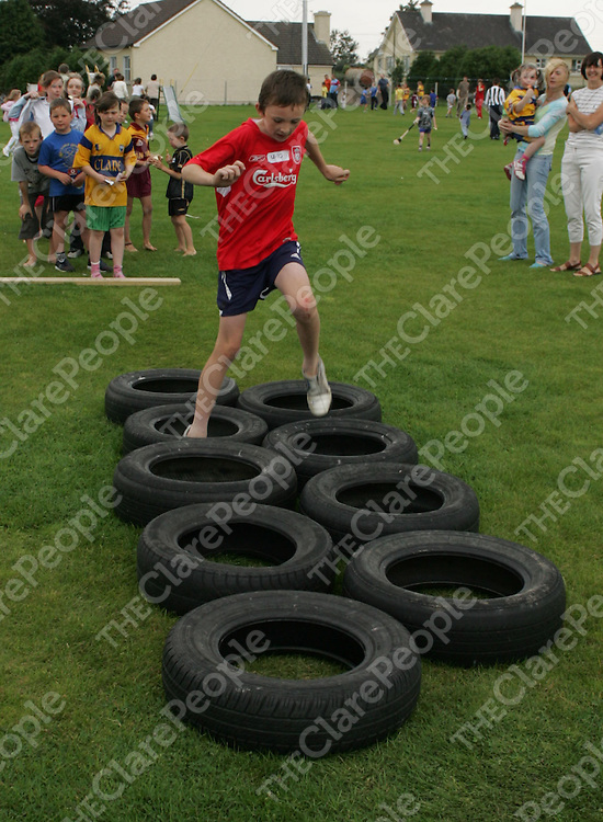 Padraic Mulconroy running a obstacle course at the O'Callaghan's Mills Fun Day .<br />
