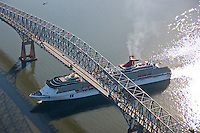 Aerial view of Cruise Ship , thhe Carnival Pride under the Francis Scott Key bridge.
