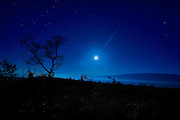 Moonset over Mauna Loa; Big Island of Hawaii; full moon; night; Hawaii Volcanoes National Park