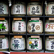 Rows of Japanese Sake Containers