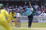 Heather Knight of England (5) dances down the track to hit four runs during the Royal London Women's One Day International match between England Women Cricket and Australia at the Fischer County Ground, Grace Road, Leicester, United Kingdom on 4 July 2019.