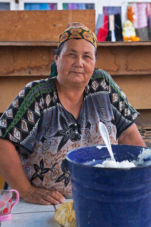 A vendor in a Dashoguz market, Turkmenistan