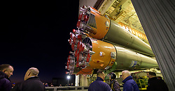 The Soyuz rocket is rolled out by train to the launch pad, Tuesday, Oct. 9, 2018 at the Baikonur Cosmodrome in Kazakhstan. Expedition 57 crewmembers Nick Hague of NASA and Alexey Ovchinin of Roscosmos are scheduled to launch on October 11 and will spend the next six months living and working aboard the International Space Station. Photo Credit: (NASA/Bill Ingalls)