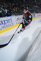 KELOWNA, CANADA, OCTOBER 5: Mackenzie Johnston #22 of the Kelowna Rockets warms up against the Tri City Americans on October 5, 2011 at Prospera Place in Kelowna, British Columbia, Canada (Photo by Marissa Baecker/shootthebreeze.ca) *** Local Caption *** Mackenzie Johnston;