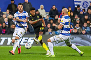 Brentford forward Ollie Watkins (11) shoots towards the goal during the EFL Sky Bet Championship match between Queens Park Rangers and Brentford at the Kiyan Prince Foundation Stadium, London, England on 28 October 2019.