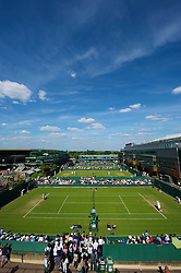 LONDON, ENGLAND - Tuesday, June 22, 2010: A general view of the tennis courts during day two of the Wimbledon Lawn Tennis Championships at the All England Lawn Tennis and Croquet Club. (Pic by David Rawcliffe/Propaganda)